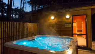 Outdoor hot tub and spa area