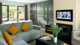 Woodland Lodge living area, with corner sofa and TV
