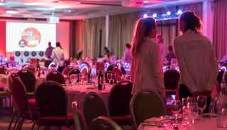 Event venue decorated for Virgin Holidays