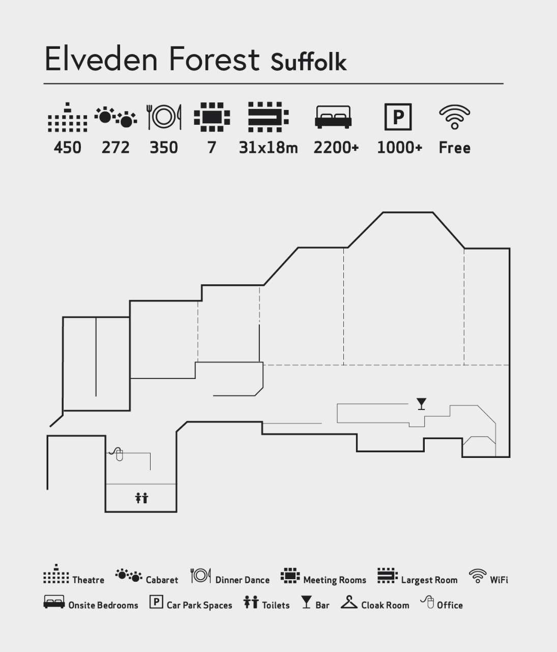 Room layout of The Venue at Elveden Forest