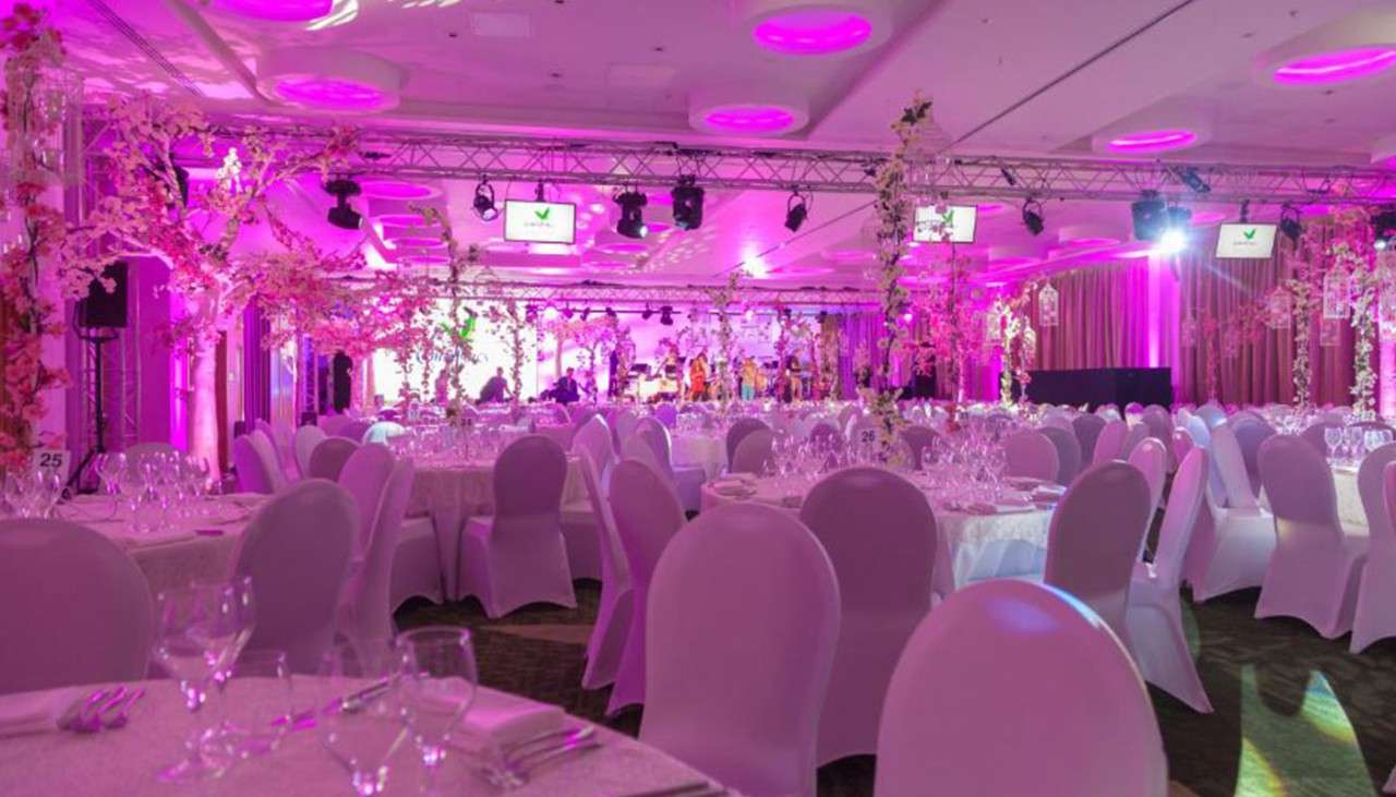Room at Woburn decorated in a pink theme for an event