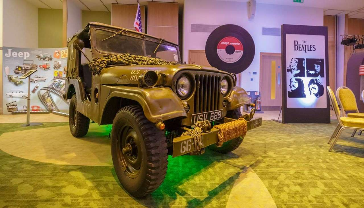 Jeep inside a function room at Woburn Forest for a launch event