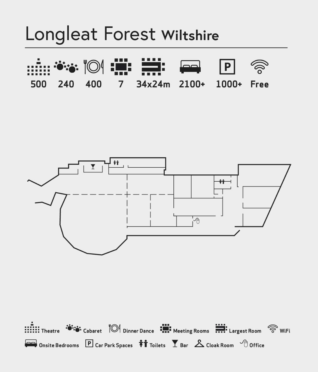 Room layout of The Venue at Longleat Forest
